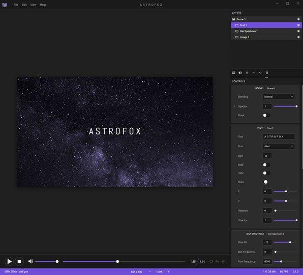 音乐转换可视化视频开源工具-Astrofox